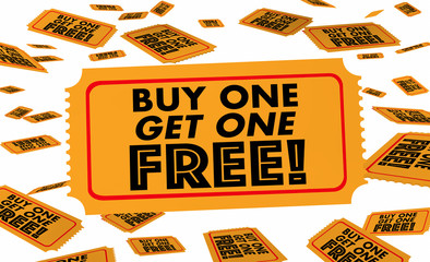 Buy One Get One Free BOGO Tickets 3d Illustration