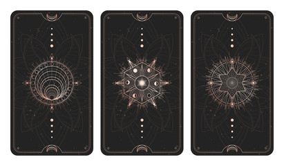 Obraz Vector set of three dark backgrounds with sacred symbols, grunge textures and frames. Illustration in black and gold colors. - fototapety do salonu