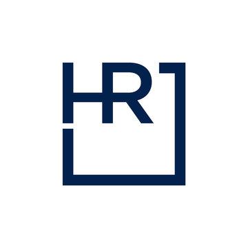Initial HR Letter logo design vector template