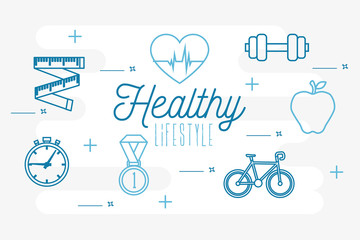 poster healthy lifestyle with set icons vector illustration design