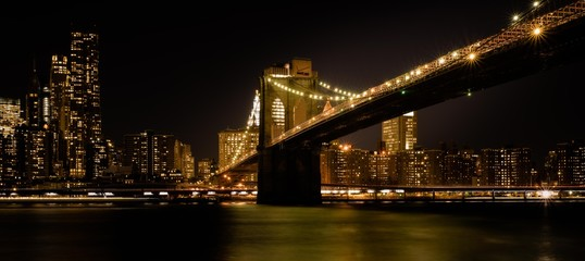 Printed kitchen splashbacks Brooklyn Bridge brooklyn bridge night lights buildings sea reflection