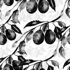 Picture of a plum branch.Watercolor sketch on a white background.Seamless Pattern.