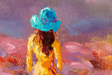 Fotobehang Lavendel Beautiful girl in a yellow dress close-up in a flower field - Oil painting romantic landscape