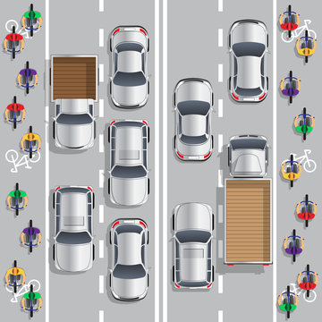 Road traffic and bicycle path. View from above. Vector illustration.