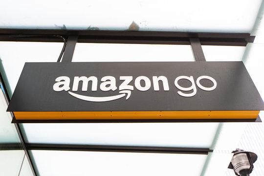 Seattle, Washington - November 22, 2019: Amazon Go Store in Seattle, Washington