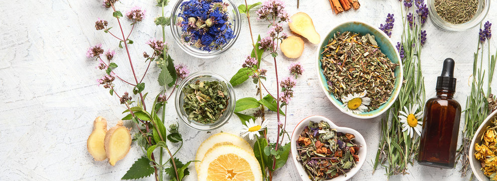 Various kinds of herbal tea