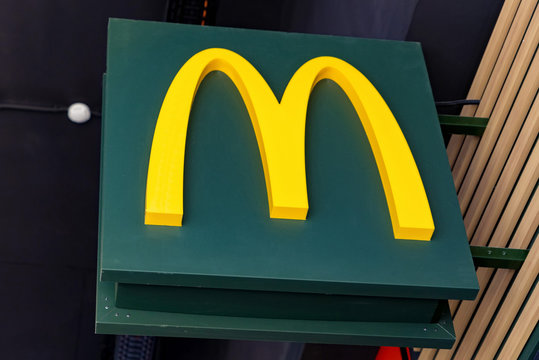 ROSTOV-ON-DON, RUSSIA - CIRCA OCTOBER 2019: logo for fastfood chain Mc Donalds