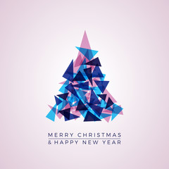 Abstract christmas tree with triangles, vector greeting card