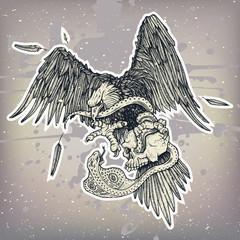 Eagle vs snake and skull in sky battle in vector. Hand drawn bald eagle illustration, flying wild bird vs snake fighting in vector. Haliaeetus Leucocephalus predator bird attack snake, tattoo.