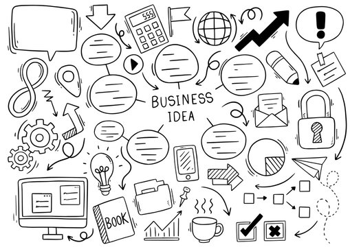 Hand drawn business Idea doodles on white background