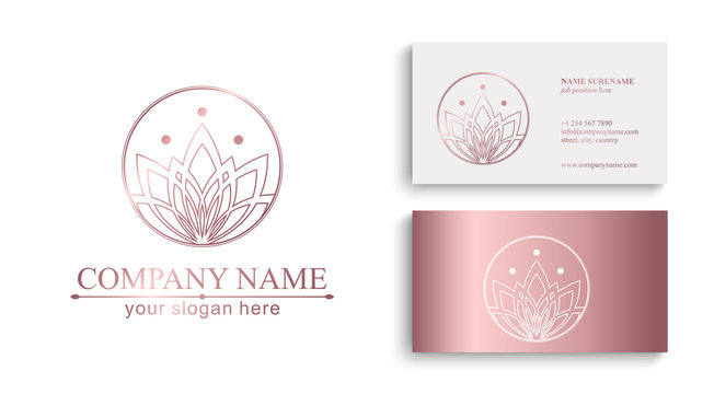 Lotus Logo. Flower icon abstract design vector template business card. Lotus SPA icon. Logo for Spa, massage, beauty salon, yoga, cosmetics, hotel, fashion.