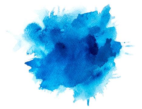blue splash of paint watercolor on paper.
