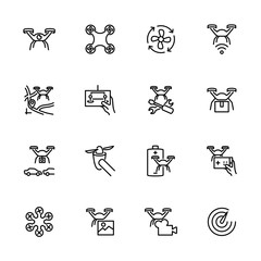 Drone, drone service, drone activity and drone hobby line icon set.