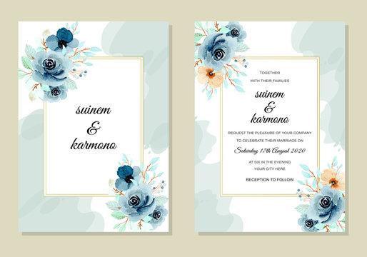 wedding invitation card with indigo flower watercolor
