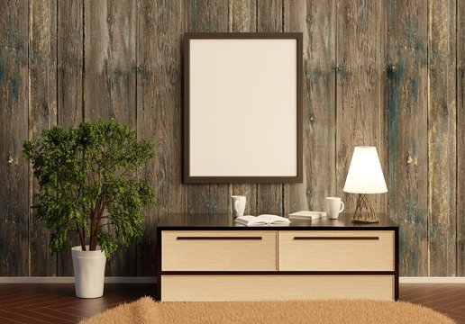 Template of an empty poster on a wooden wall. Low table with lamp and large indoor plant on the floor. 3D rendering. 3D illustration.