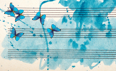 Zelfklevend Fotobehang Vlinders in Grunge Morpho blue butterflies and notes. Butterfly melody. Old music sheet in blue watercolor paint. Blues music concept. Abstract blue watercolor background.