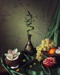 Still life with bamboo and orchid flower