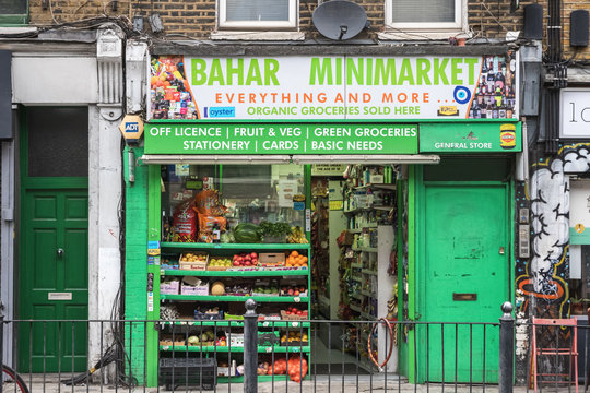 A corner shop around Hoxton, East London