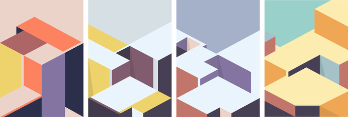 Isometric architectural cover design. Geometric set of templates, posters, brochures. Fotomurales