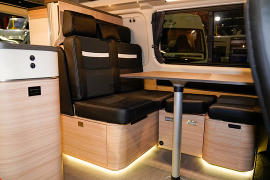 camper van open door show interior motor home