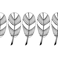 Decorative, ornate bird feathers. Black and white outline illustration for coloring book and page.