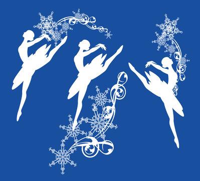 ballerina girl and snowflakes decor - winter season ballet dancer vector silhouette design set