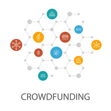 Crowdfunding presentation template, cover layout and infographics. startup, product launch, funding platform, community icons