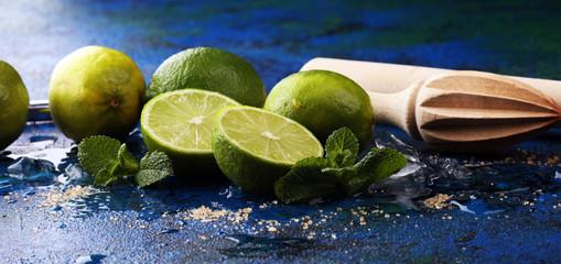 Lemon Fruit Lime Caipirinha of Brazil. Cocktail with lemon and mint