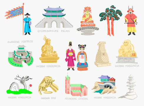 set of doodle vector illustration - sights of South Korea travel collection