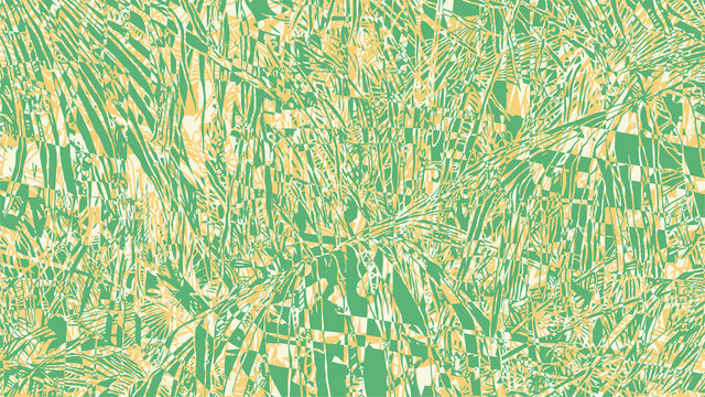 Tropical Abstract Background With Palm-Tree Leaf And Glitch Effect. drawing style.aspect ratio 16:9. vector illustration