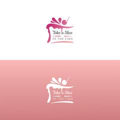 Elegant tasty cake logo design. Vector image.