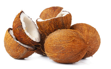 broken coconut on a white background close up
