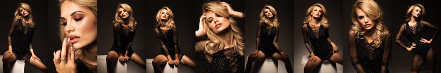 Panorama of fashion portraits of a beautiful girl. Sexy blonde in a stylish dress on a black background Wall mural