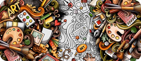 Artist hand drawn doodle banner. Cartoon detailed illustrations. Fotomurales