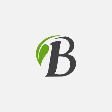 Vector green alphabet eco logo with leaves, Green Eco Alphabet Vector icon, initial B with nature logo design inspiration
