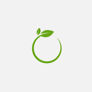 Green leaf ecology nature element vector icon, Leaf circle Icon, green leaf ecology nature element vector