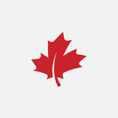 Maple leaf logo template vector icon illustration, Maple leaf vector illustration, Canadian vector symbol, Red maple leaf, Canada symbol, Red Canadian Maple Leaf