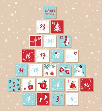 Vector Christmas advent calendar. Winter holidays poster with dates. Cute decoration xmas day celebration.