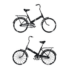 Cartoon flat style retro bike icon shape silhouette.  Vintage Bicycle logo symbol sign. Vector illustration image. Isolated on white background. Healthy eco transportation.