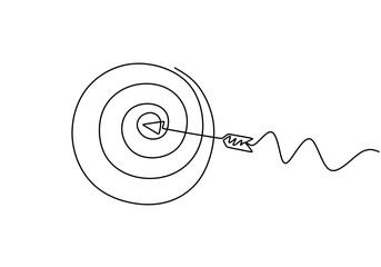 Continuous line drawing of arrow in center of target. One hand drawn goal object of archery business challenge metaphor. Vector illustration hunting and winner theme. Wall mural