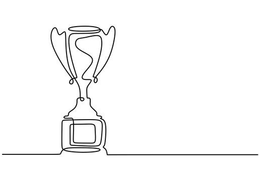 one line drawing of winner trophy minimalism object design vector illustration