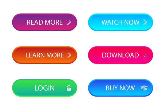 Set of trendy action call button for web, mobile app. Template navigation button menu. Gradient icon for game, banner. Kit of material style buttons with download, learn more. Isolated vector