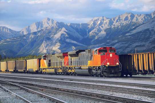 Freight container train in Jasper.