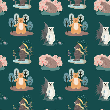 Seamless pattern with cute bears and different elements. Vector illustration in scandinavian style