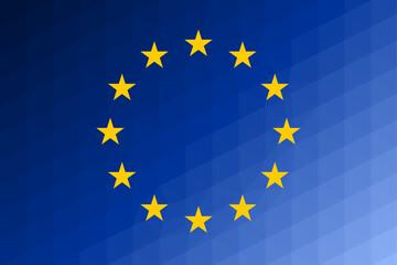 European Union flag trianglify Generative Art background illustration - fototapety na wymiar