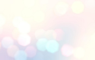 Light bokeh defocus illustration. Pastel abstract backdrop. Sweet dream background. Blurred texture. Bright blue pink yellow ombre pattern.