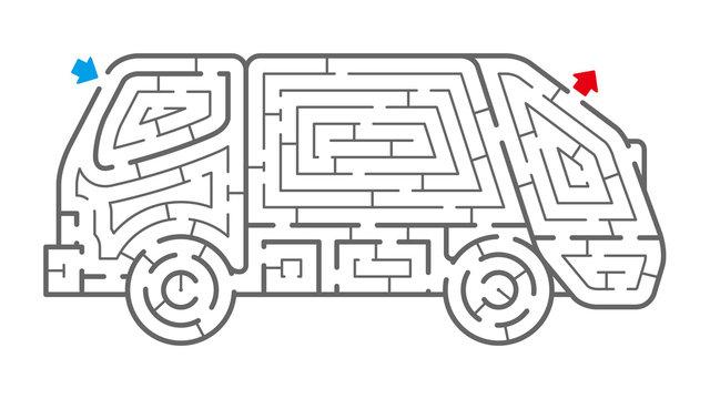 ゴミ収集車の迷路(塗り絵)