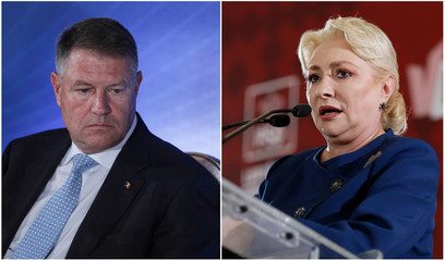 Combination picture shows Romanian incumbent candidate Iohannis and former Romanian PM Dancila in Bucharest