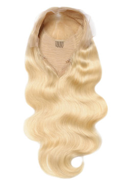 Body wavy bleached blonde human hair weaves extensions lace wigs