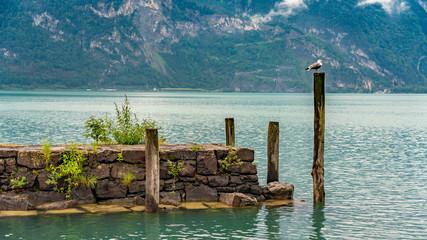 Switzerland, Panoramic view on embankment near Fluelen